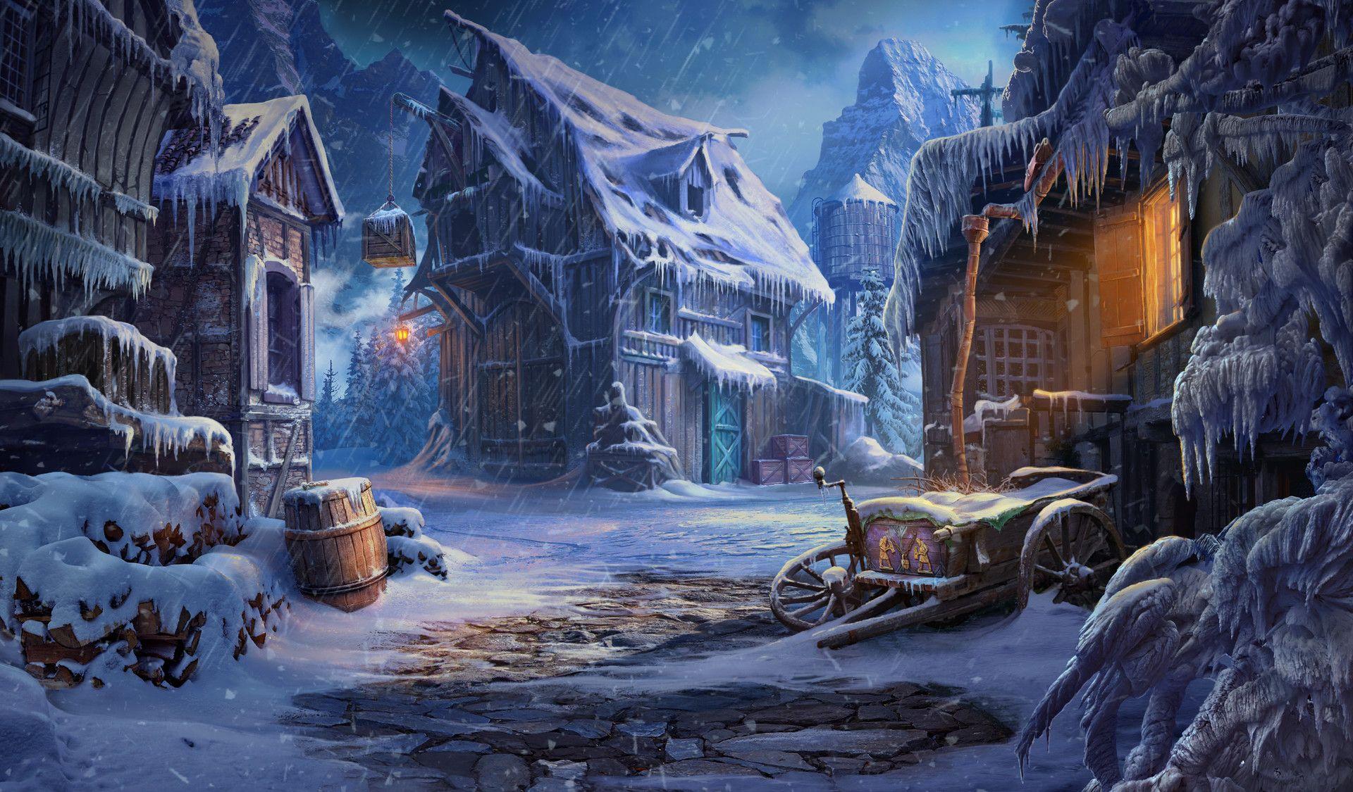 Artstation Old Barn In The Winter Village Sergey Lameyko Fantasy Art Landscapes Fantasy Village Fantasy City