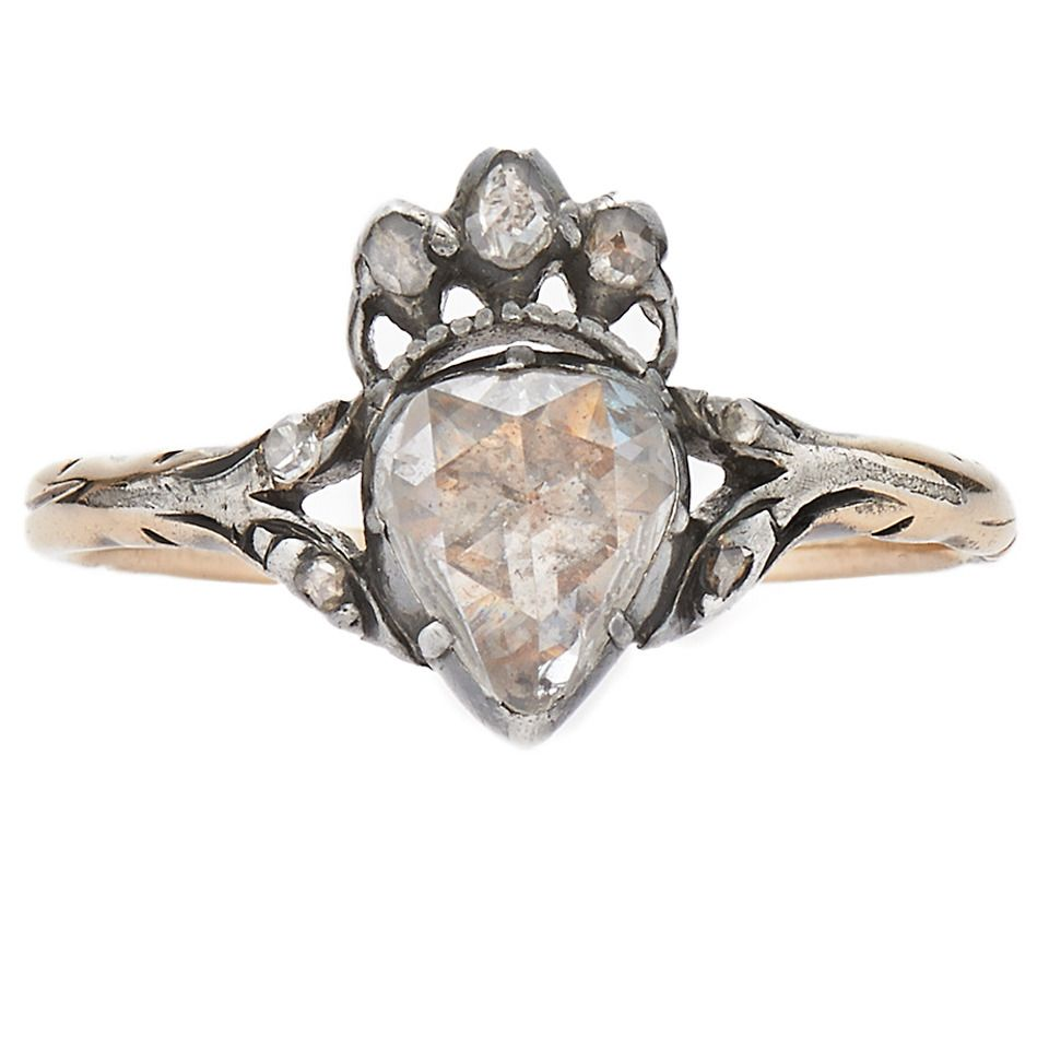 48140254ba Antique Georgian Rose Cut Diamond Crowned Heart Ring. A foil backed pear  shape rose cut diamond weighing approximately 0.55 carat is accented with rose  cut ...