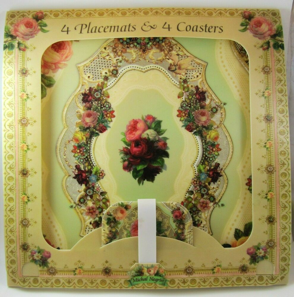 New Michal Negrin מיכל נגרין Set Of 4 Placemats 4 Coasters Floral Design Michalnegrin Placemats Michal Negrin Floral Design