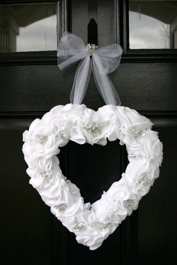 craft ideas homemade bridal shower decoration%0A Heart wreath for weddings  bridal showers  anniversaries and more  Heart is  decorated with white felt and silver accents with a tulle bow