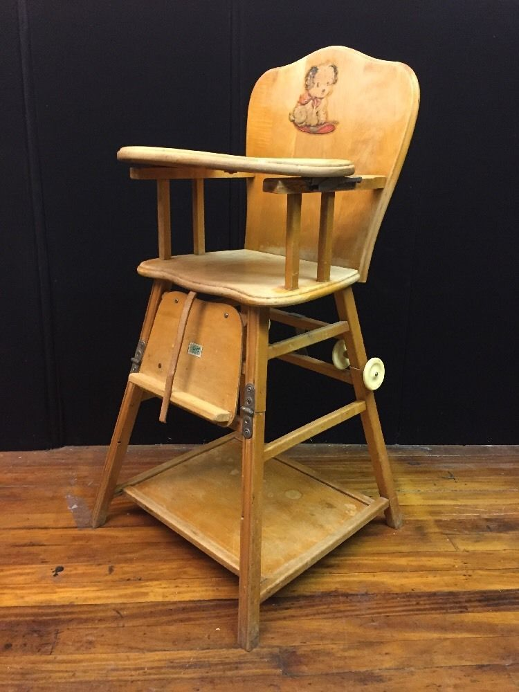 Antique Solid Wood CONVERTABLE High-Low Chair Highchair w/ Wheels by Thayer  #Thayer - Vintage Collapsible Kroll Wood Childs High Chair Wooden Baby Chair