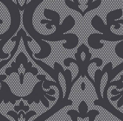 Aiden (SK175159) - Shand Kydd Wallpapers - A stylised damask shown in black and silver with small circles in the background. This is a pre pasted product. Please request a sample for a true colour match.
