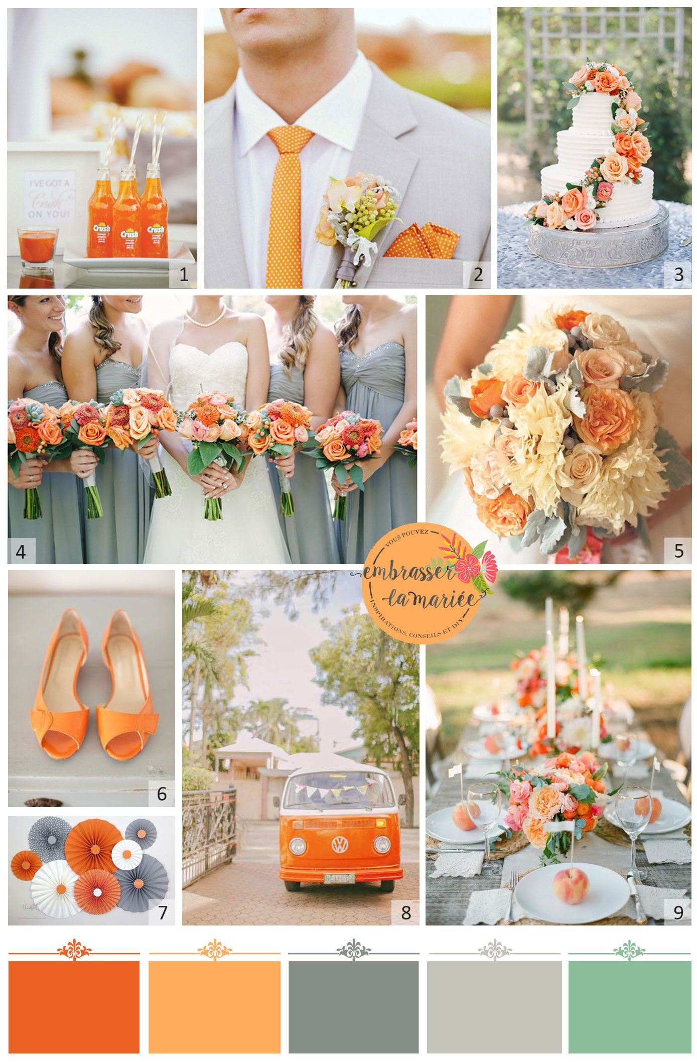 A tangerine and grey wedding Yes please Orange is a