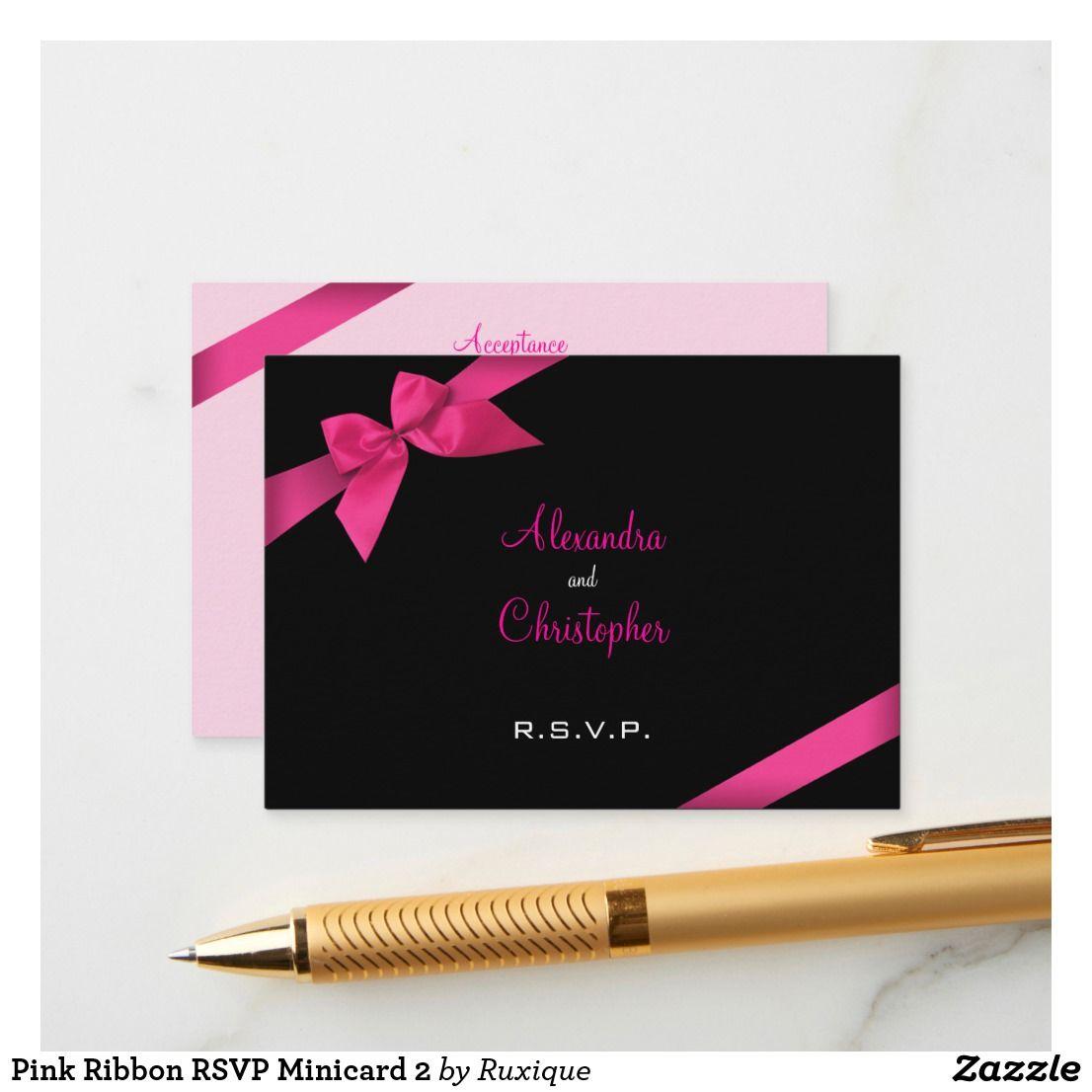 Pink Ribbon RSVP Minicard 2 Enclosure Card