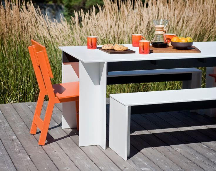 Hall Table And Bench With Emin Dining Chair From Loll Designs Salmela Collection Modern Outdoor Dining Sets Recycled Outdoor Furniture Modern Patio Furniture