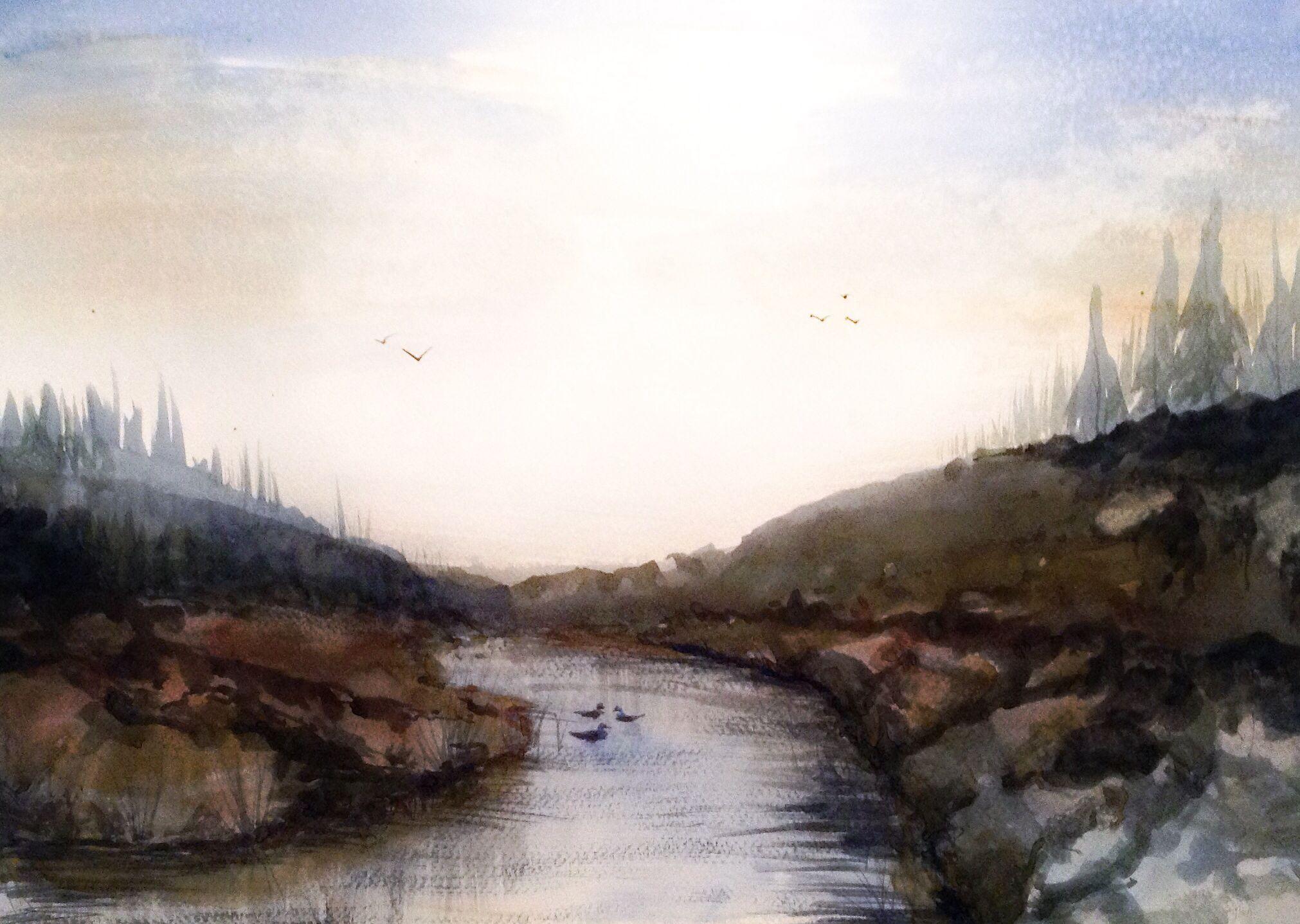 Watercolor landscape Workshop 36x48 cm