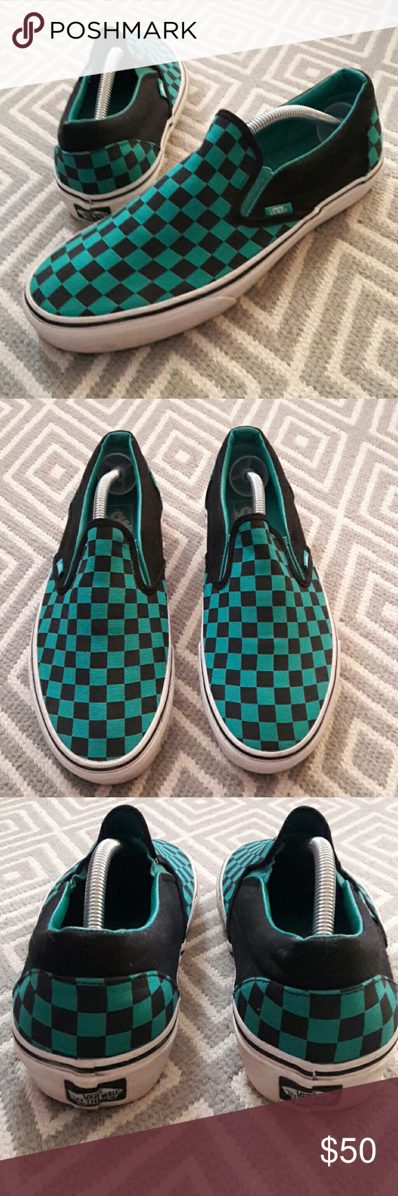 13a9ba12f5a054 Vans checkered slip on vans In good condition Unisex Women s size 12 Men s  size 10.5 Nice pair of classic checkered vans Color is like aqua blue green  and ...