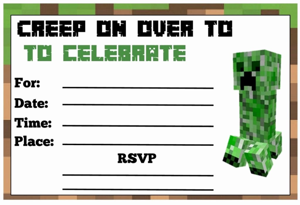 Minecraft Birthday Invitation Template Free Luxury Minecraft Birthday Party Simple Template Design Minecraft Party Invitations Minecraft Birthday Invitations Minecraft Birthday Party