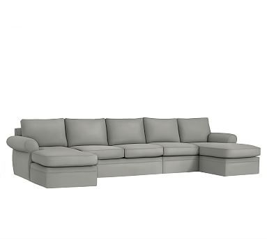 Pearce 4-Piece Double Chaise Sectional Slipcover, Performance everydaysuede(TM) Metal Gray