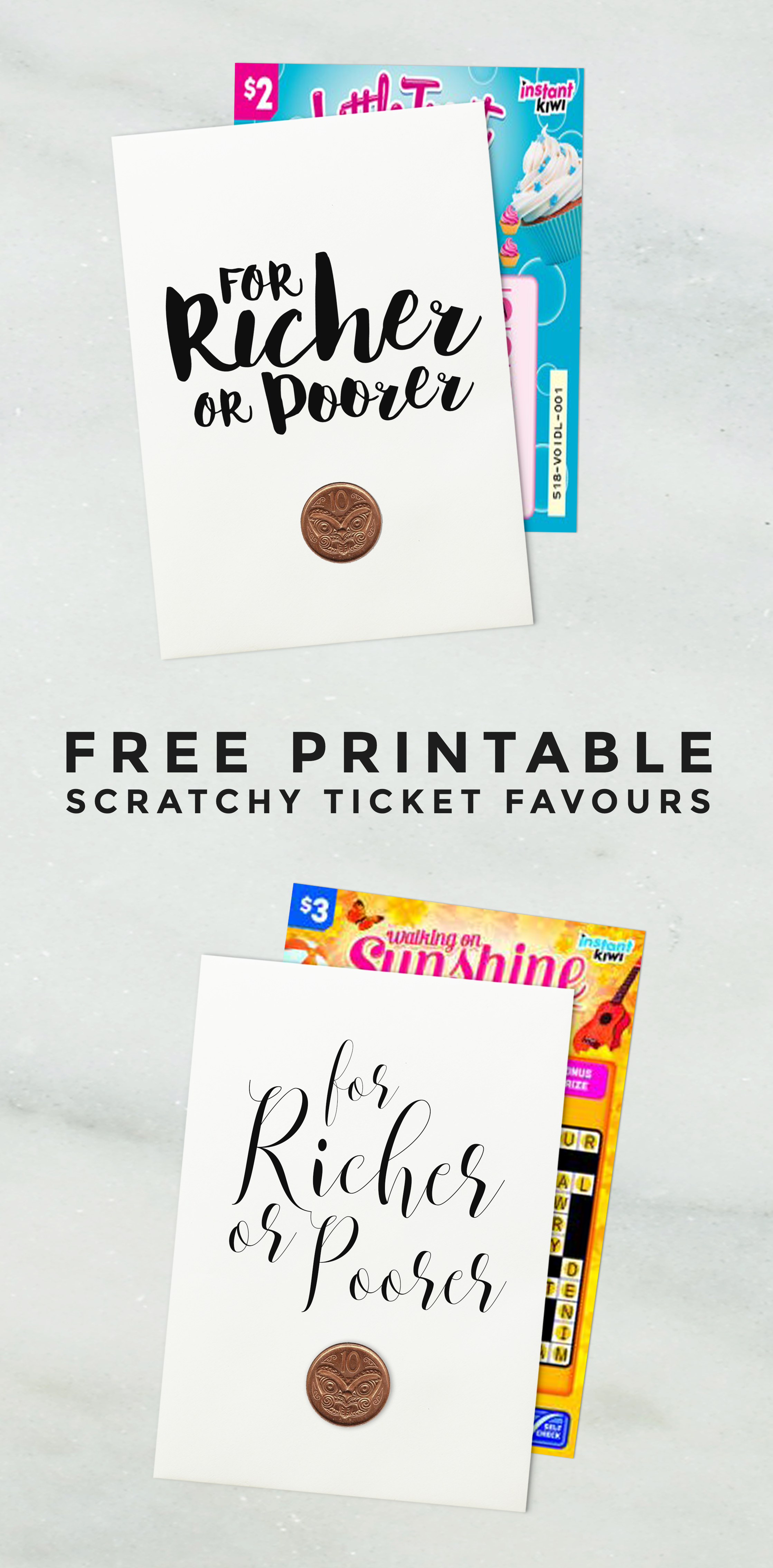 FREE PRINTABLES > For Richer Or Poorer Scratchy Ticket Favours ...