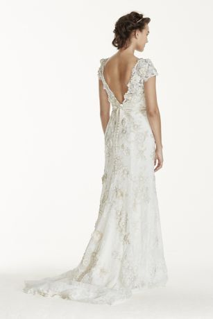 34782d931f7c Melissa Sweet 3D Cap Sleeve Wedding Dress | David's Bridal | Dresses