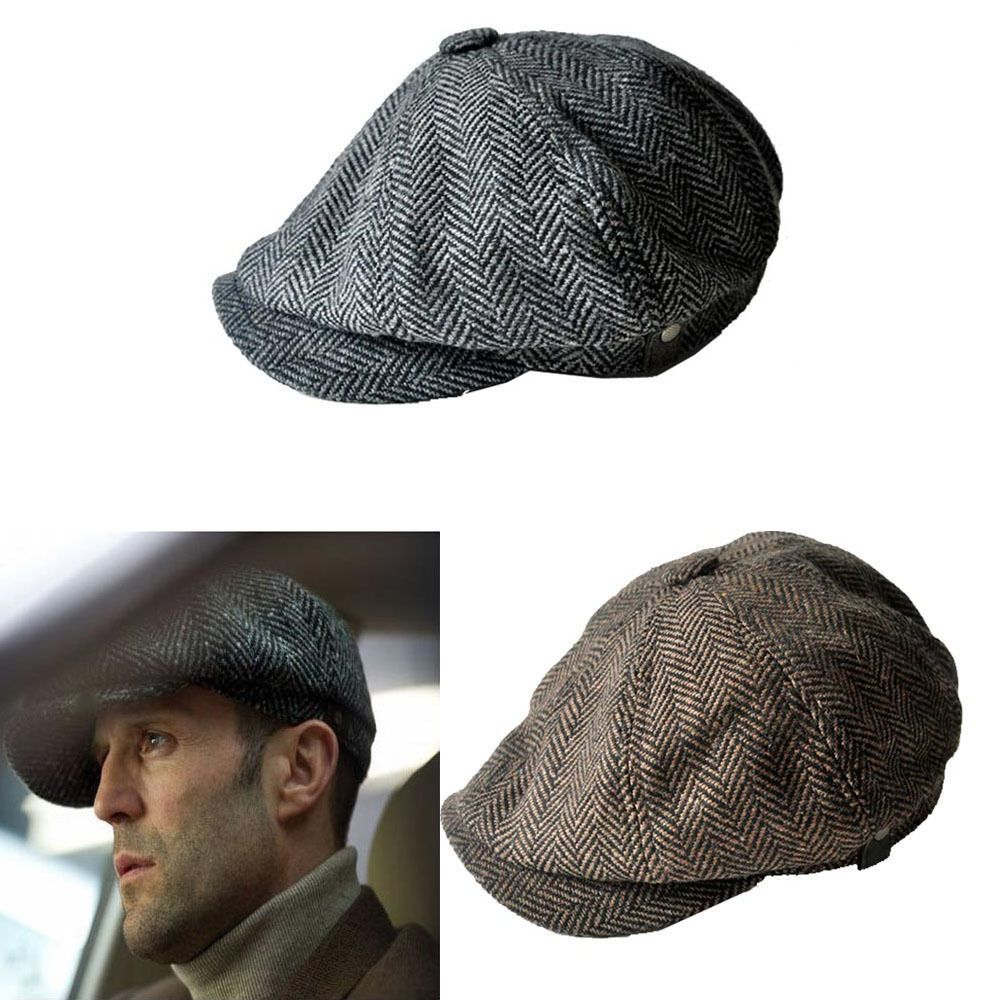 b5e83eb3707 NEW LARGE PEAKY BLINDERS FLAT CAP HERRINGBONE NEWSBOY GREY BROWN LIGHT GREY
