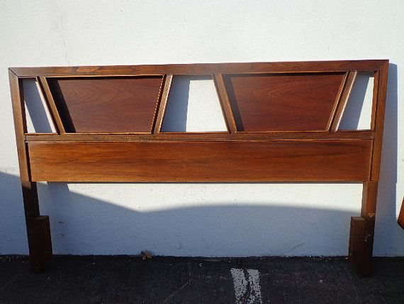 mid century modern headboard queen full bed frame reversible basic witz walnut finish bedroom set danish