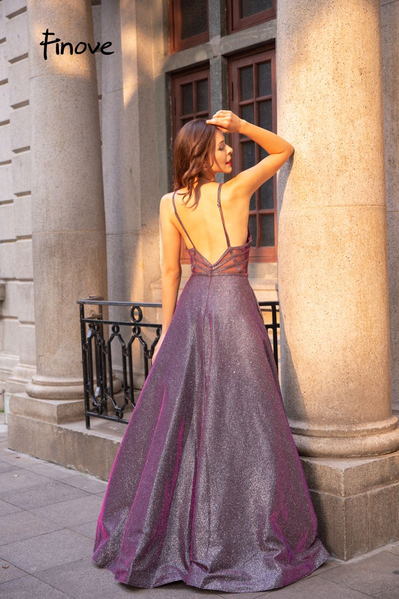 2018 Long Sparkle Materials Sexy V Neck Back Elegant Party Woman Dress Robe  de soiree b10cd1b99343