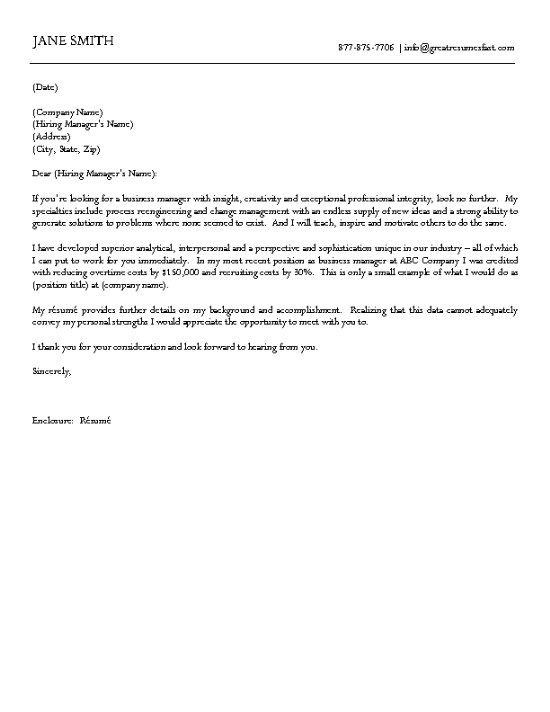 Business Cover Letter Example Cover letter example, Letter - writing a good resume cover letter