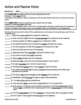Active and Passive Voice Differentiated Worksheets | English ...