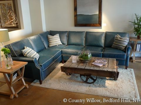 Blue Leather Sectional With Contrast White Piping Country Willow Furniture Leather Sofa Living Room Blue Leather Sofa Blue Couch Decor