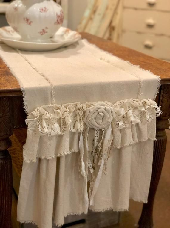 Photo of Custom Farmhouse Table Runner or Dresser runner,multi ruffle,ivory canvas,Linen, Shabby lace,Handmade,French Country Table Runner