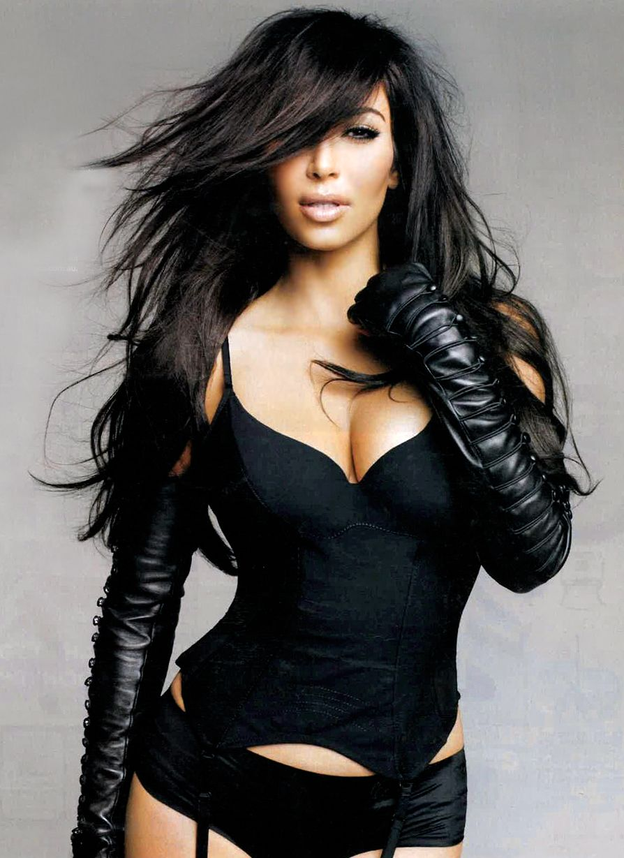 Womens leather gloves australia - Kim Kardashian Wearing Full Length Black Leather Gloves