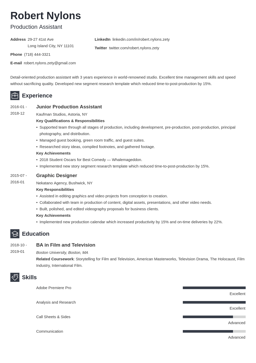 production assistant resume example template newcast in