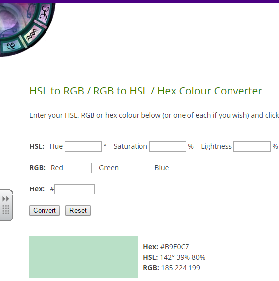 Find HSL, RGB or HEX color codes  Convert one code to find