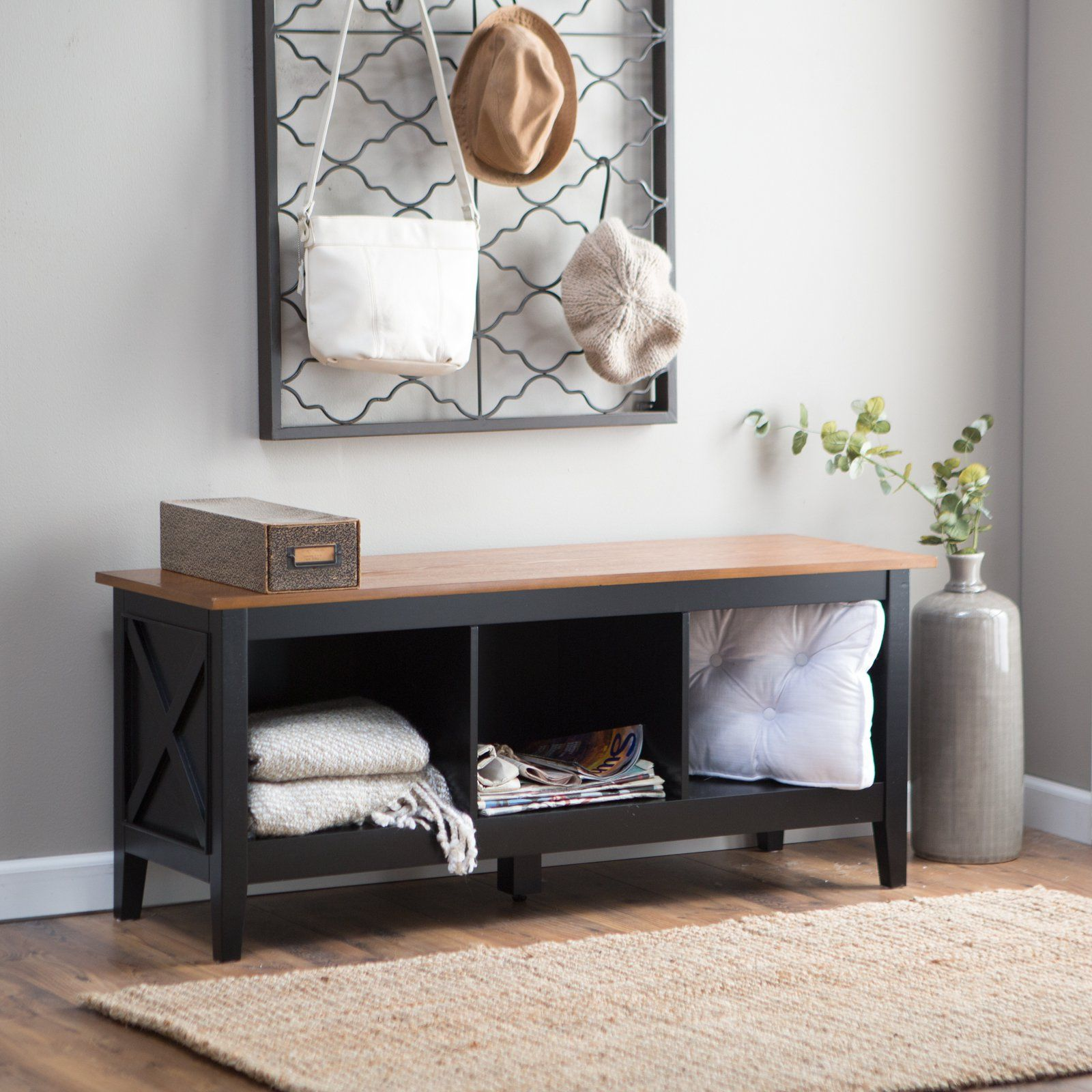 Have to have it. The Hampton Indoor Storage Bench - Black/Oak ...