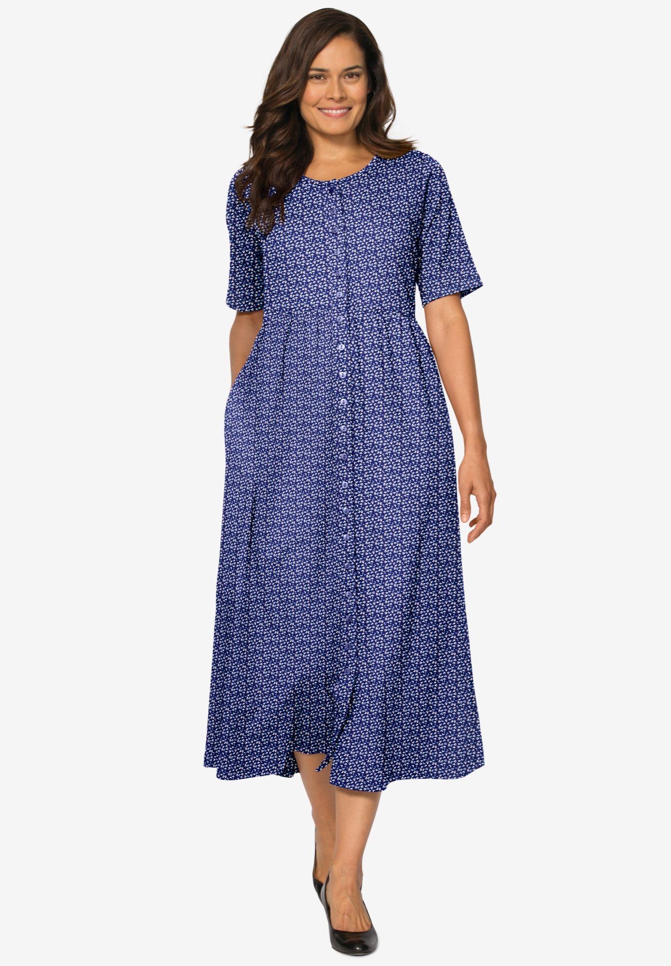 Buttonfront essential dress deep teal polka dot