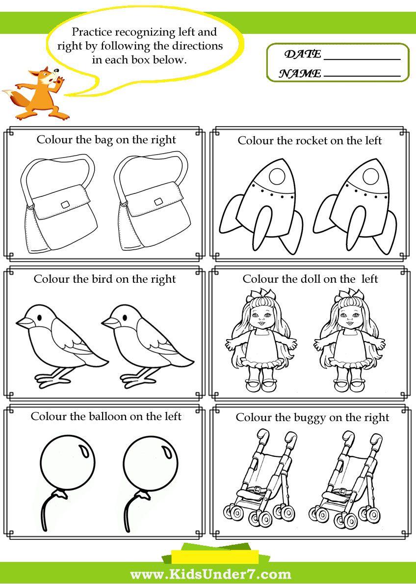 Worksheets Position Worksheets For Kindergarten kids under 7 left and right worksheets actividades imprimibles worksheets