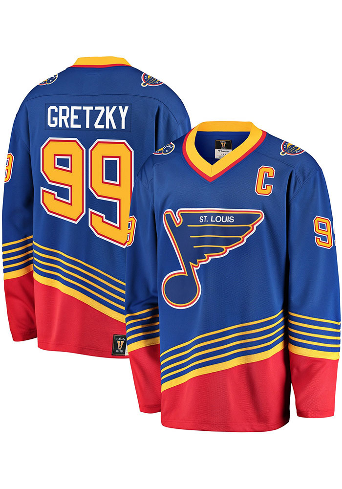c04823d6 Wayne Gretzky St Louis Blues Mens Blue Vintage Hockey Jersey, Blue, 100%  POLYESTER