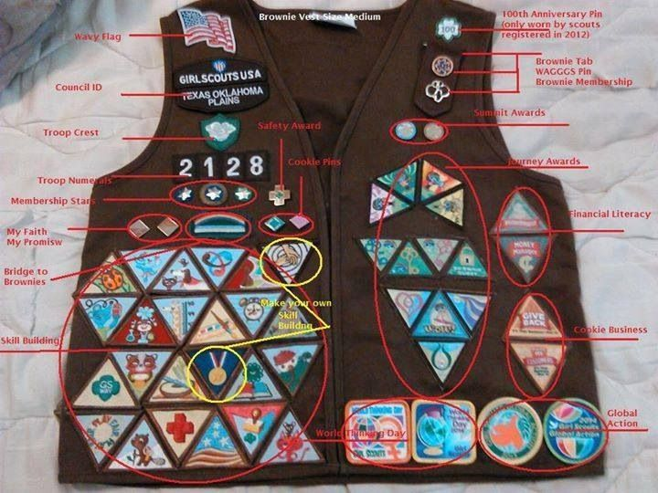 Brownie vest with ALL the badges and official insignia. | Girl ...