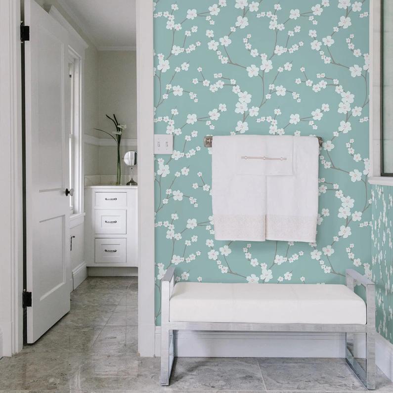Papier Peint Papier Mistral Sakura Turquoise Papier Peint Papier Peint Fleuri Decoration Mur