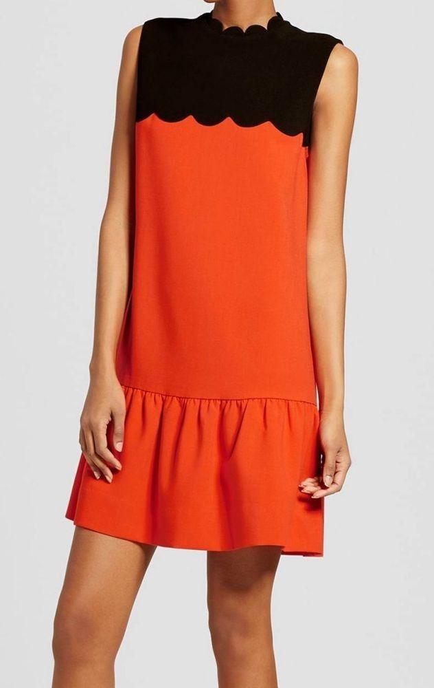 4b2cf580fc25 Victoria Beckham Women Orange Drop Waist Scallop Trim Dress - Size ...