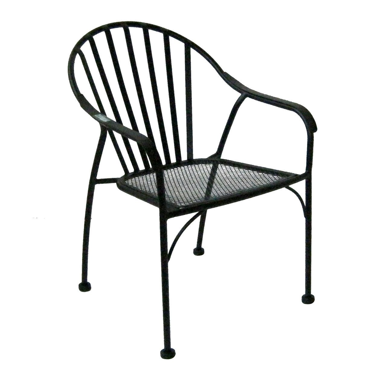 Black Wrought Iron Slat Patio Chair At Home