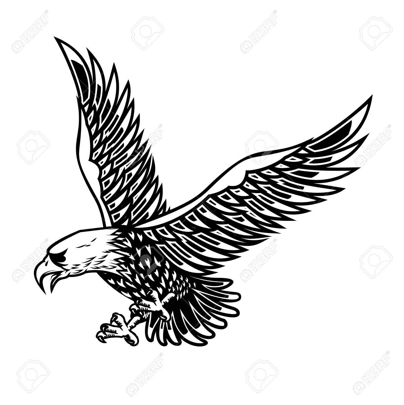 Eagle illustration on white background Design element for poster card print logo label emblem sign