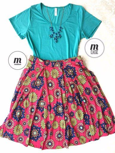 LuLaRoe Outfit M Classic Tee M Madison Skirt   Lindsay Gonzalez's Boutique   Shoppe