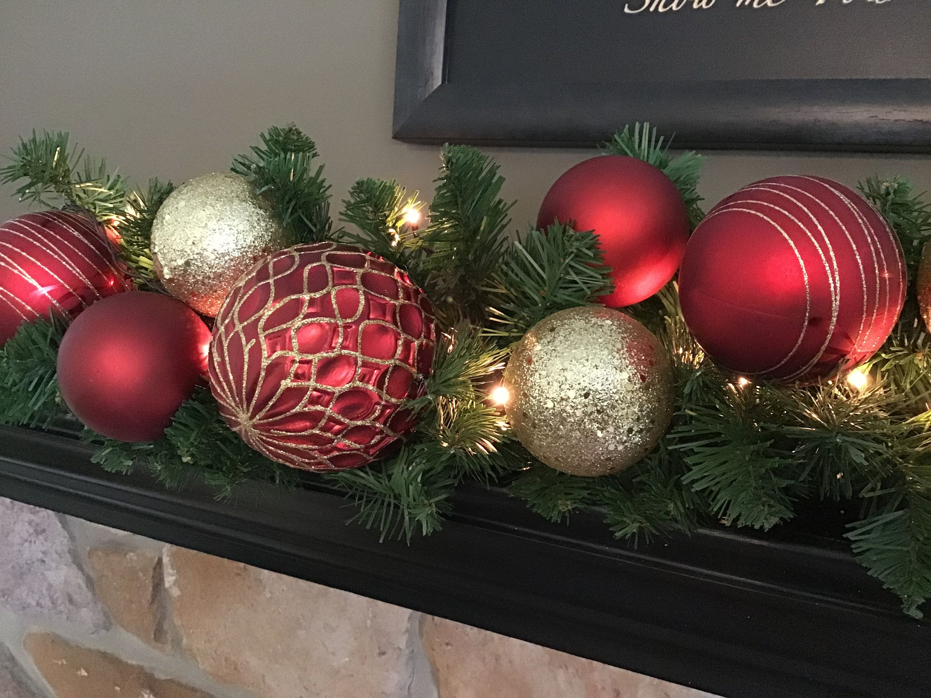 Christmas Garland Christmas Mantle Decoration Red And Gold