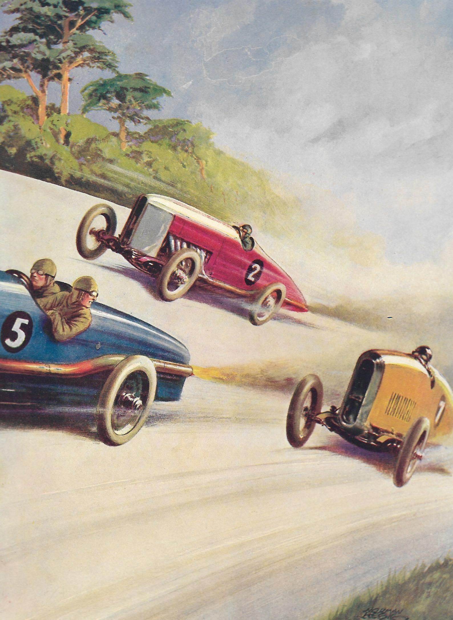 1930s Motor Car Racing Vintage Print, Norman Keene , Three