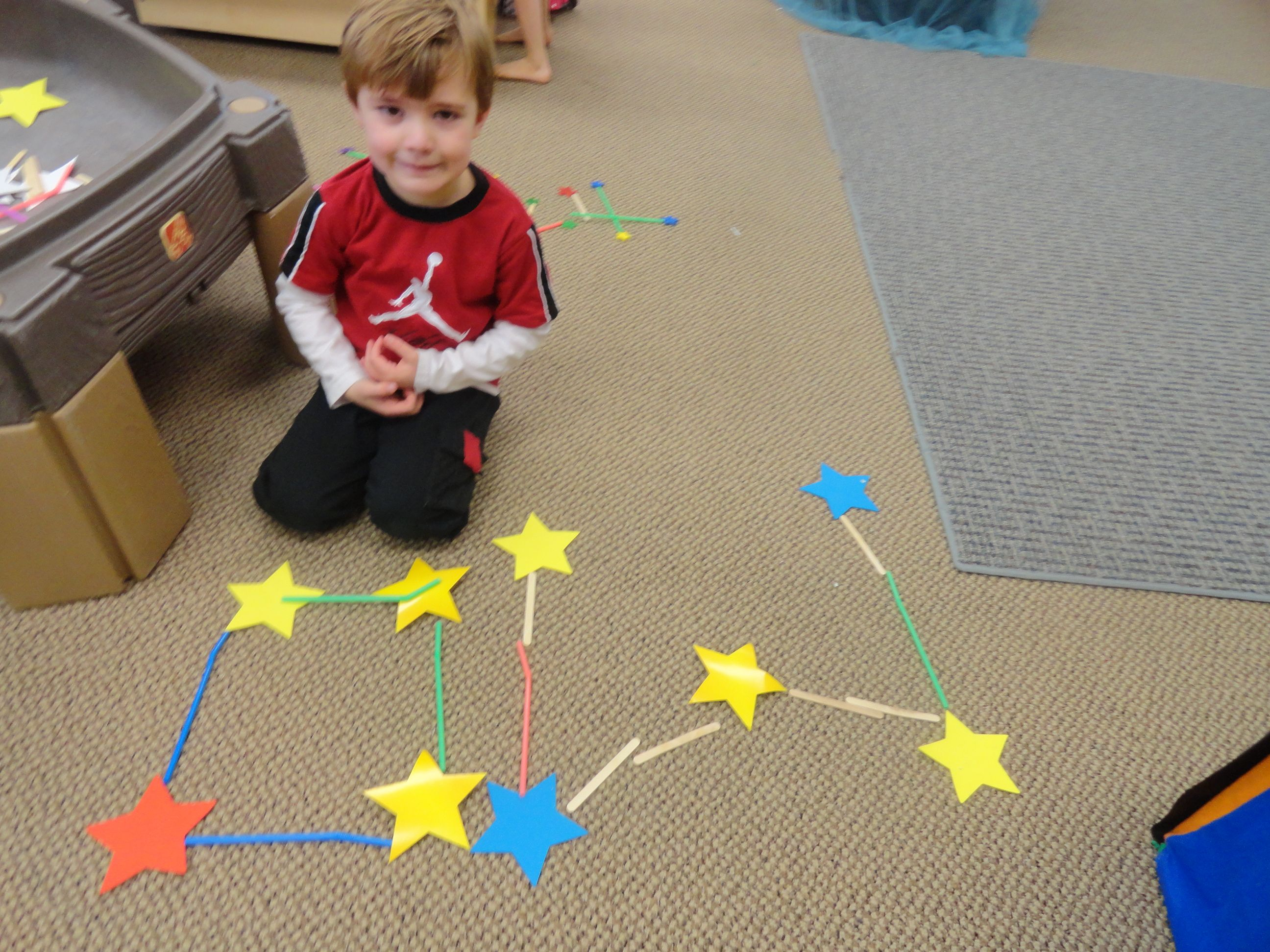 Constellation Building With Paper Stars Craft Sticks And