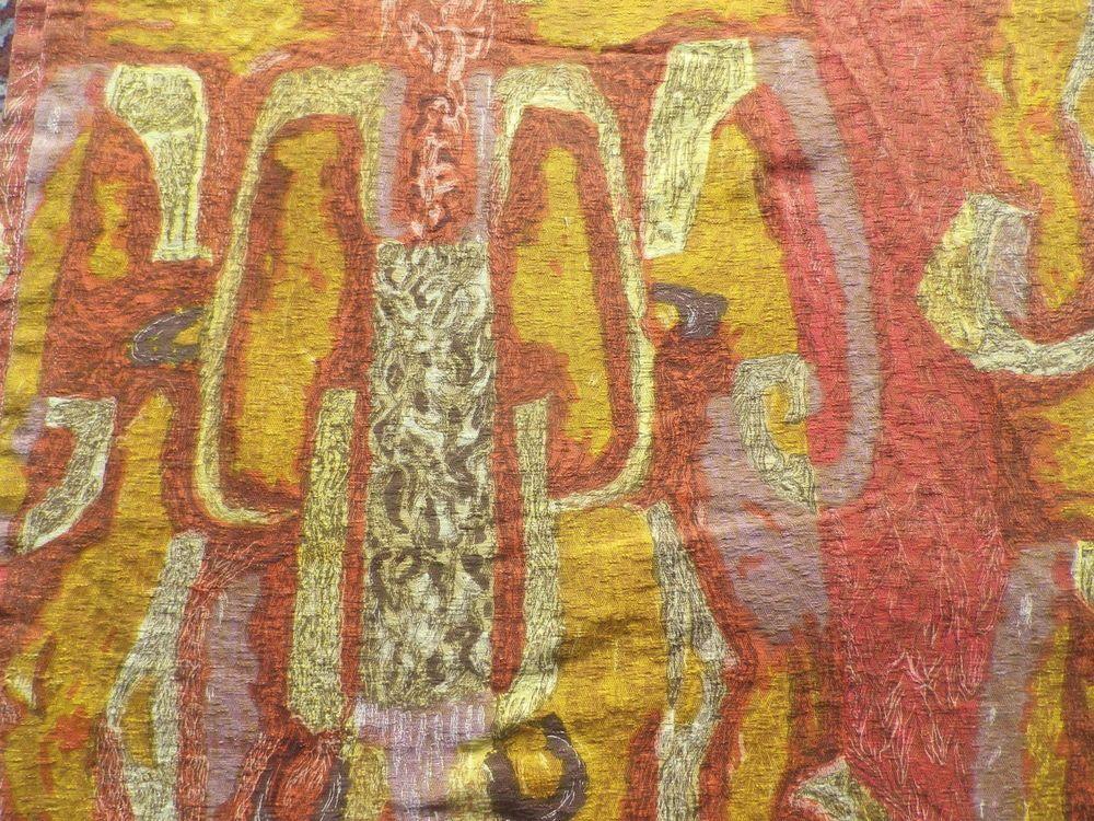 vintage 1950s abstract orange woven satin brocade interiors fabric