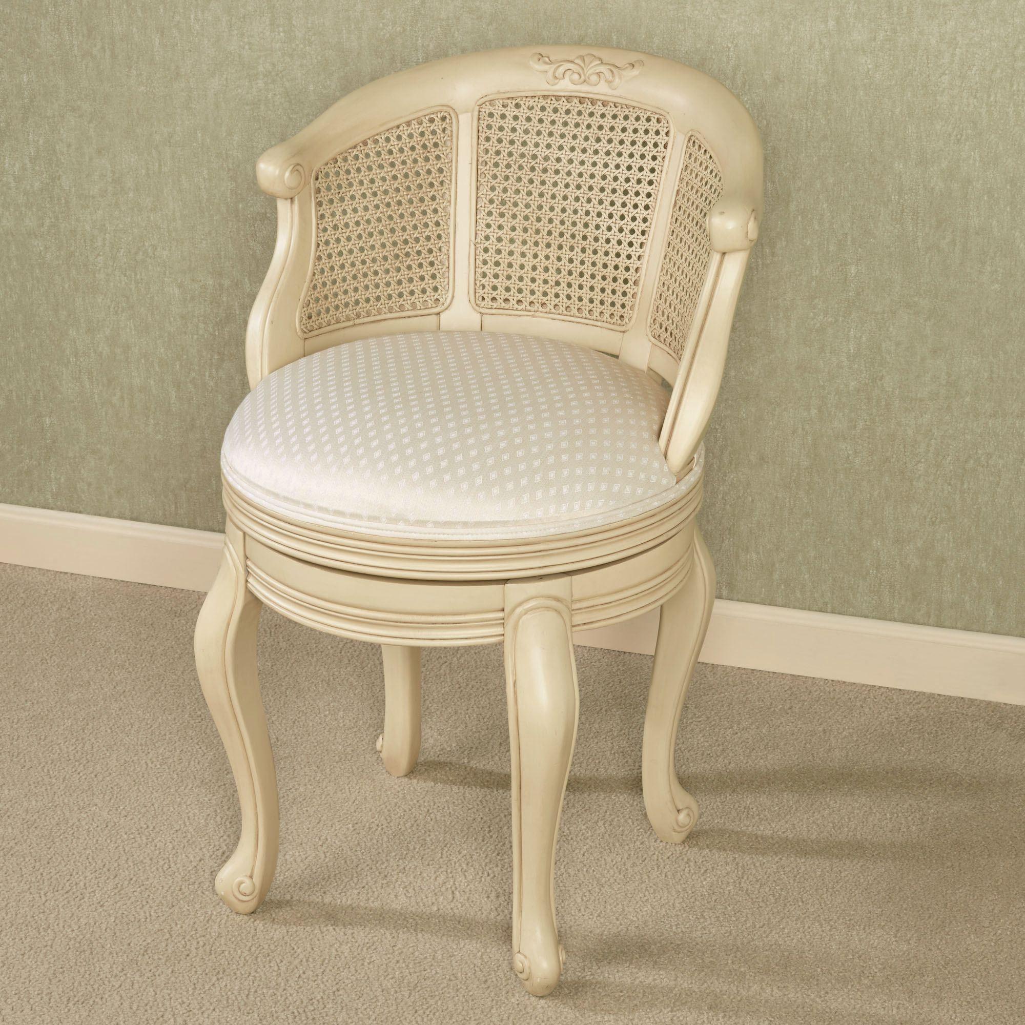 Belhurst Natural Cherry Swivel Vanity Chair Upholstered