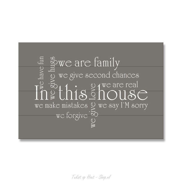 Muurteksten Op Hout.Tekst Op Hout In This House Woordenwolk Hout Met Tekst