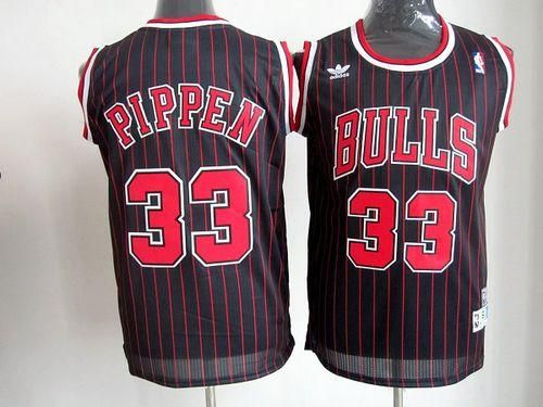 size 40 c50eb f6e87 Bulls #33 Scottie Pippen Black With Red Strip Throwback ...