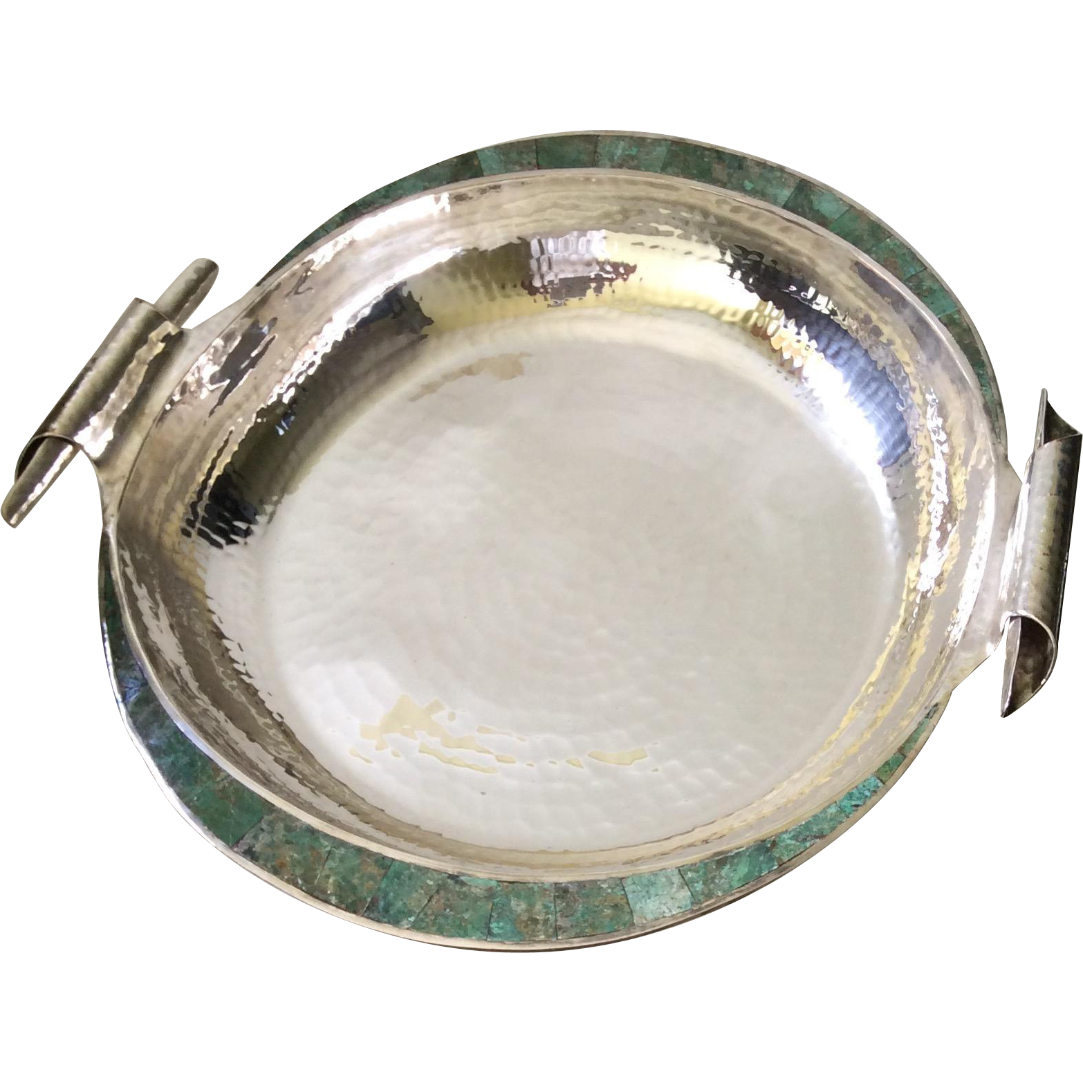 Emilia Castillo Taxco Centerpiece Bowl with Inlaid Turquoise and Scrolled Handles