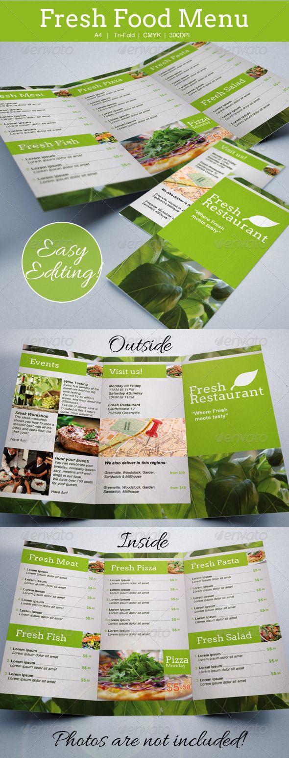 Fresh Food Menu Template Tri-Fold | Food menu template, Menu ...
