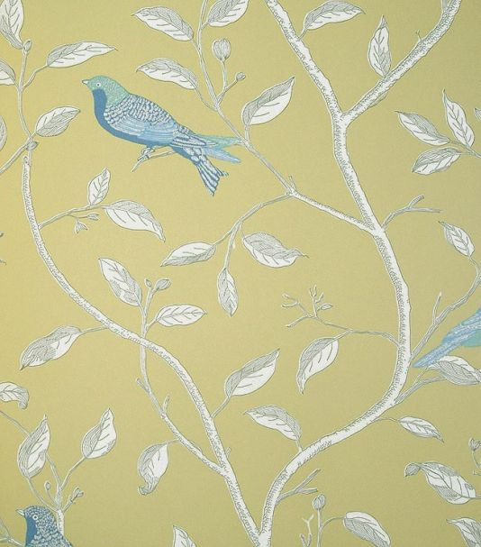 Finches yellow wallpaper by sanderson