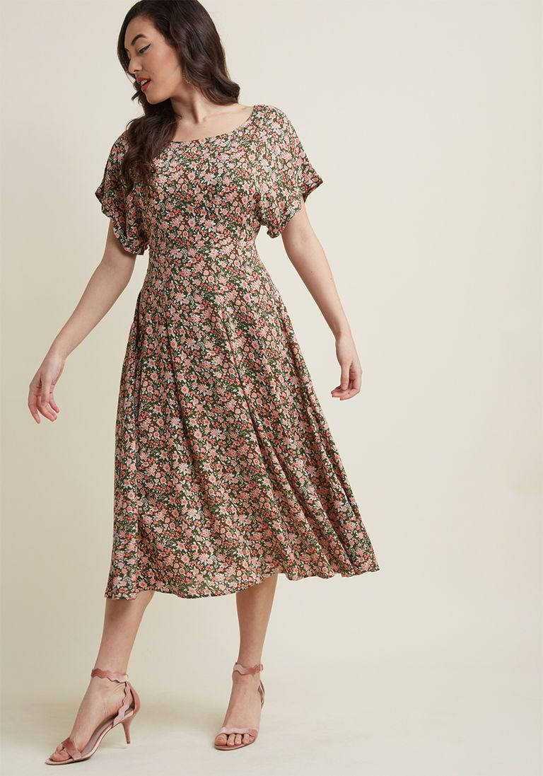 cf7c851d5ed 1930s Style Day Dresses Midi Dress in Floral