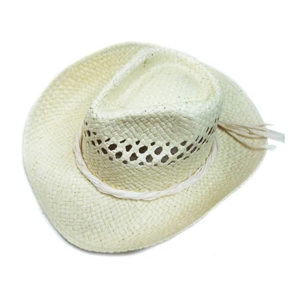 8ccff01e1249b6 Cowboy Hat with material La LA paper straw with ribbon band. Adult size.