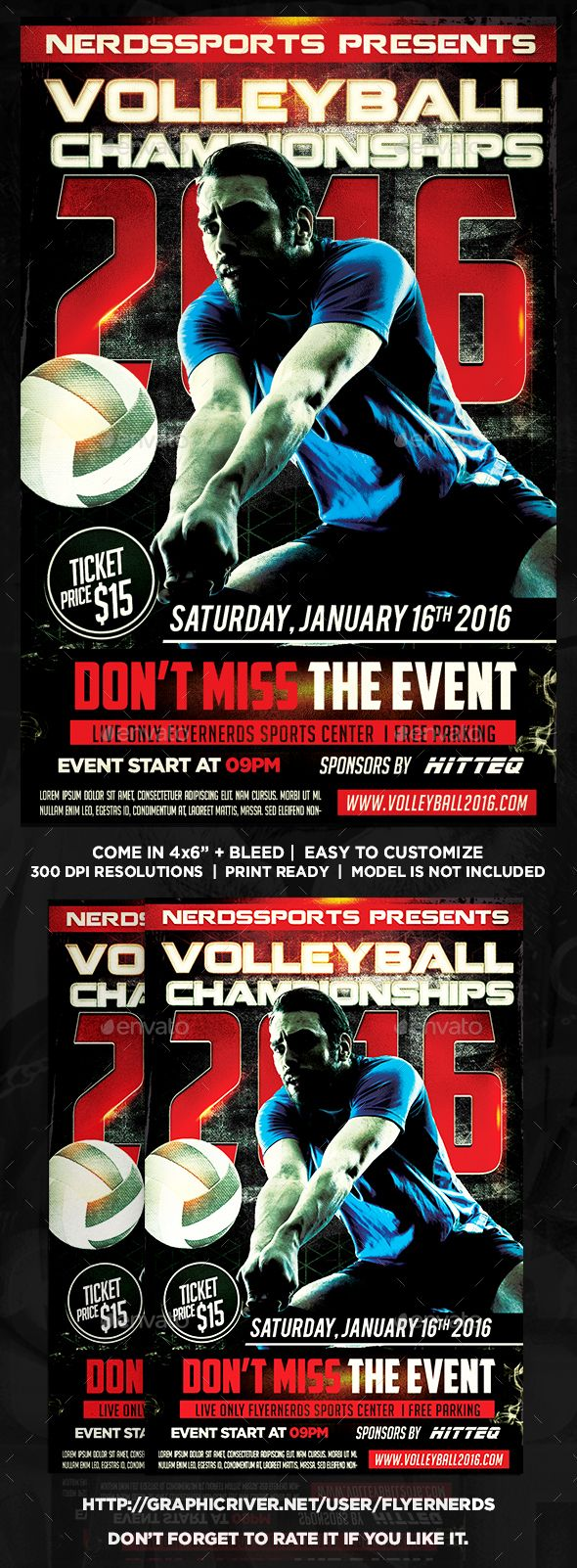 Volleyball Championships 2016 Sports Flyer Sports Flyer Flyer Volleyball