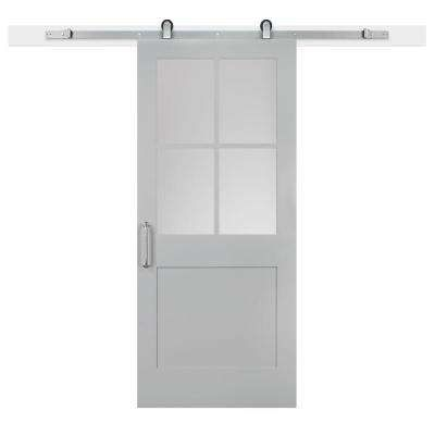 36 In X 84 In Gray Geese 1 Panel 1 2 Lite Privacy Sandblasted Glass Mdf Barn Door With Sliding Door Hardware Kit Sliding Door Hardware Barn Door Jeff Lewis
