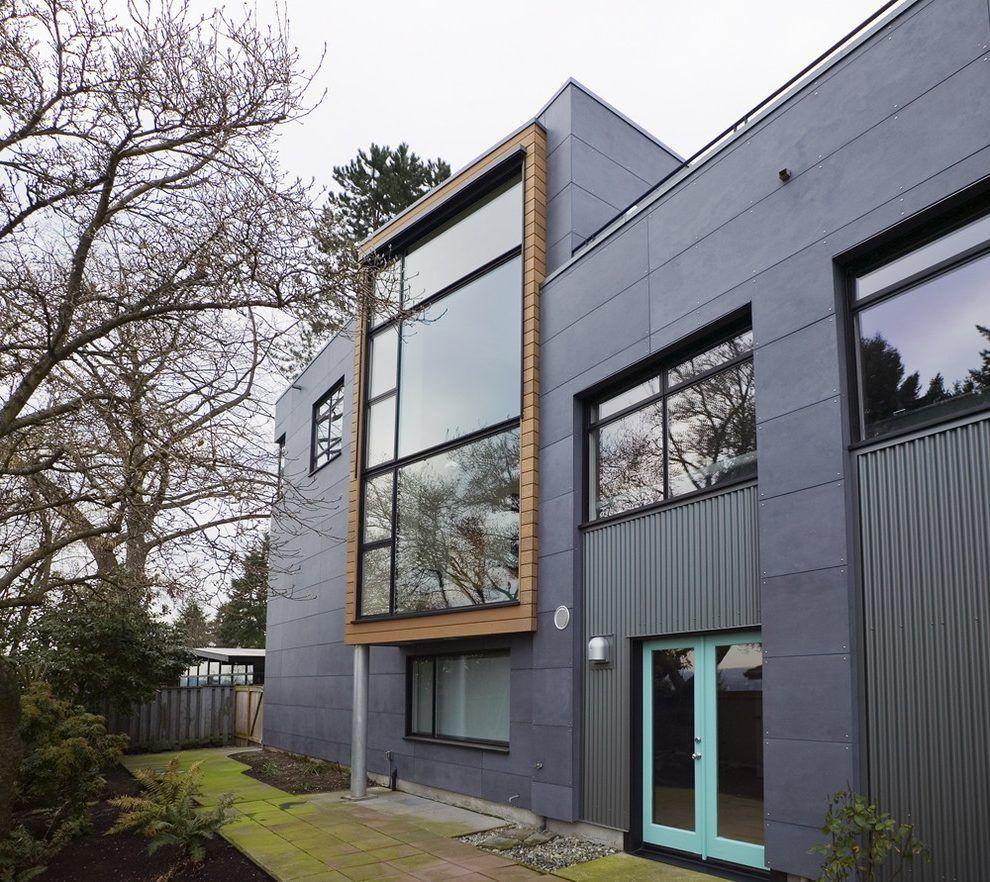 Fiber Cement Exterior Industrial With Light Blue Door Contemporary Outdoor Dining Ta Exterior Siding Options Vertical Siding Exterior Modern Farmhouse Exterior